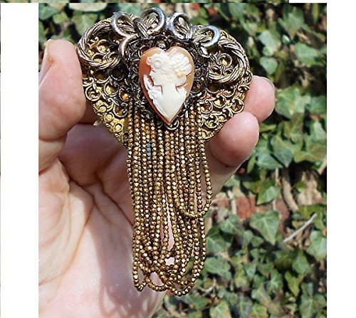 Artisan Signed Wood Heart Collage w/ Antique Gold Seed Beads Dangling Brooch Pendant. What's Not to Love?