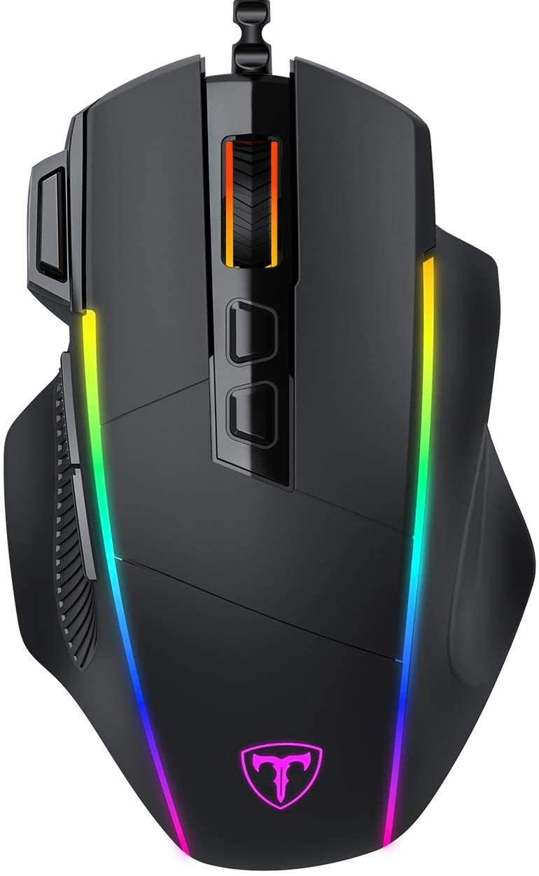 VicTsing Ergonomic Wired Gaming Mouse, 8 Programmable Buttons, 5 Levels Adjustable DPI up to 8000, Wired Computer Gaming Mice with 7 RGB Backlight Modes for PC, Laptop, MacBook