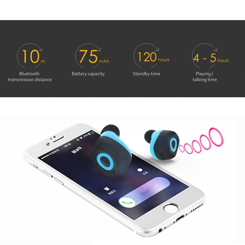 ROGUCI auricular inalámbrico HI-FI auriculares estéreo deporte como auriculares Bluetooth para auriculares Ear doble tapones ergonómicos / oído ruido en la ...
