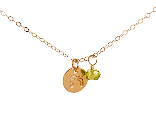 Amazon baby feet necklace with birth month charm tiny 14k baby feet necklace with birth month charm tiny 14k gold filled new baby new mommy aloadofball Image collections