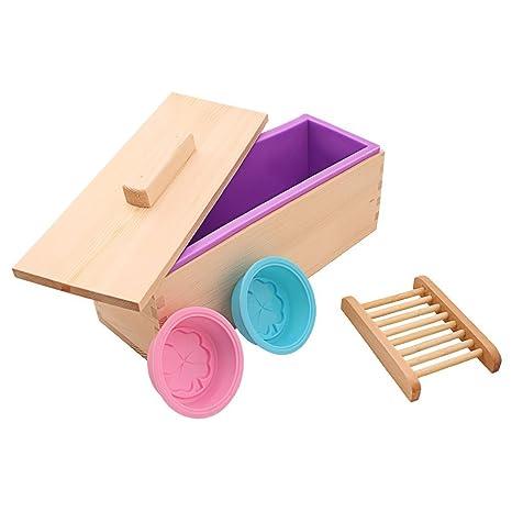 yunnasi Kit de molde de silicona hecho a mano de jabón con caja de madera y