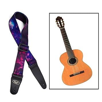 Itian Correa de la Guitarra - Correa Grande de Algodón para Guitarra Acústica/Eléctrica/bajo, Longitud Ajustable de 95 a 150cm: Amazon.es: Electrónica