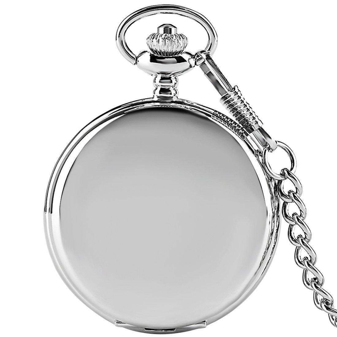 Silver Smooth Surface Quartz Pocket Watch Fob Chain Steampunk White Dial