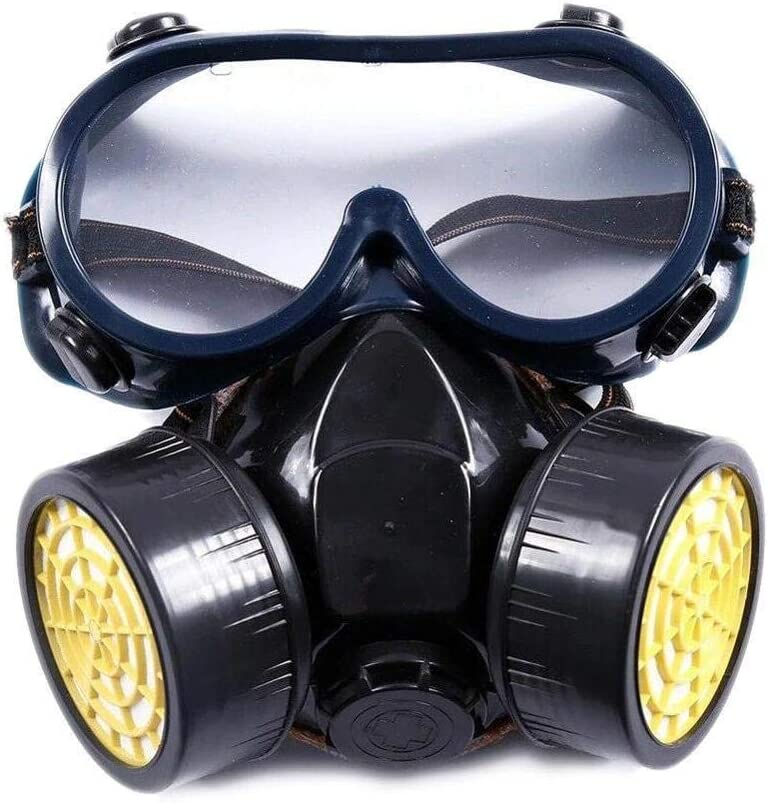 Yunbai Supervivencia de emergencia de seguridad de gas respiratorio careta Gafas de protección doble, anteojos de seguridad anti-vaho gafas Gafas Gafas de polvo a prueba de viento de arena gafas de pr