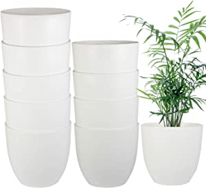 6.3 Inch Plant Pots 10 Pack, EHWINE Flower Pots Indoor Plastic Garden Planter Morden Decor for House Plants, Herbs, Flowers ect(White)