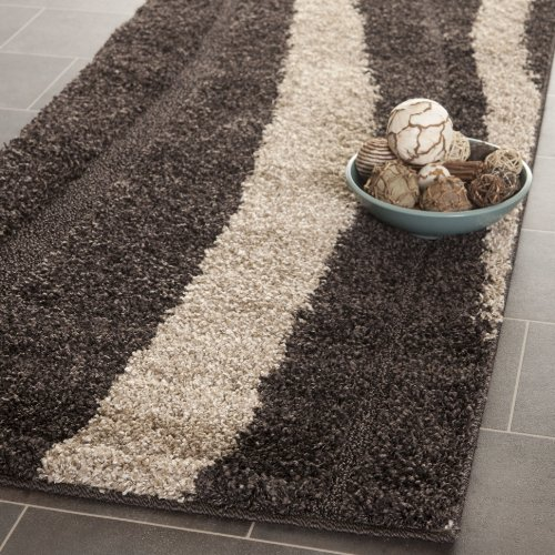 Safavieh Willow Shag Collection SG451-2813 Dark Brown and Beige Runner (2'3