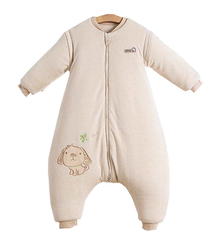 Beige M//Koerpergroesse 85-100cm Chilsuessy Baby Winter Schlafsack Langarm 3.5 Tog Bio Baumwolle Kinder Schlafsack Schlafanzug mit abnehmbar Langarm