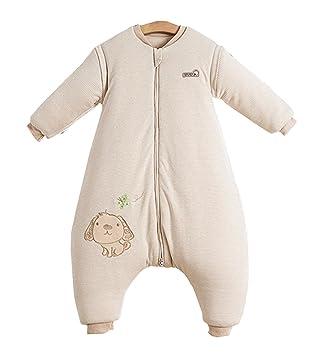 new styles 4a40a 03e19 Chilsuessy Baby Winter Schlafsack Langarm 3.5 Tog Bio Baumwolle Kinder  Schlafsack Schlafanzug mit abnehmbar Langarm, Beige, M/Koerpergroesse  85-100cm