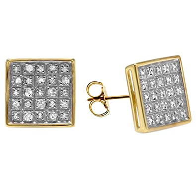 bf00f75f1 Amazon.com: 0.25 Carat (ctw) 18K Yellow Gold Plated Sterling Silver Diamond  Square Men's Stud Earrings 1/4 CT: Jewelry