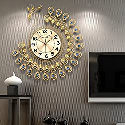 NEOTEND 3D Wall Clock Peacock 40pcs Diamonds Decorative Clock Diameter 20.8 Inches Gold