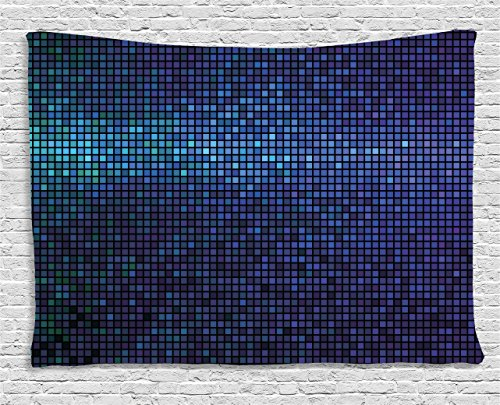 Ambesonne Abstract Tapestry by, Disco Backdrop with Gradient Fractal Mosaic Little Squares Print, Wall Hanging for Bedroom Living Room Dorm, 80WX60L Inches, Indigo Navy Blue Teal Purple
