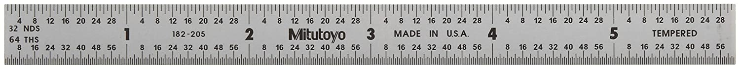 Steel Rule Mitutoyo 182-205 1//32, 1//64, 1mm, 1//2mm Satin Chrome Finish Tempered Stainless Steel 6 X 150mm, 1//64 Thick X 1//2 Wide