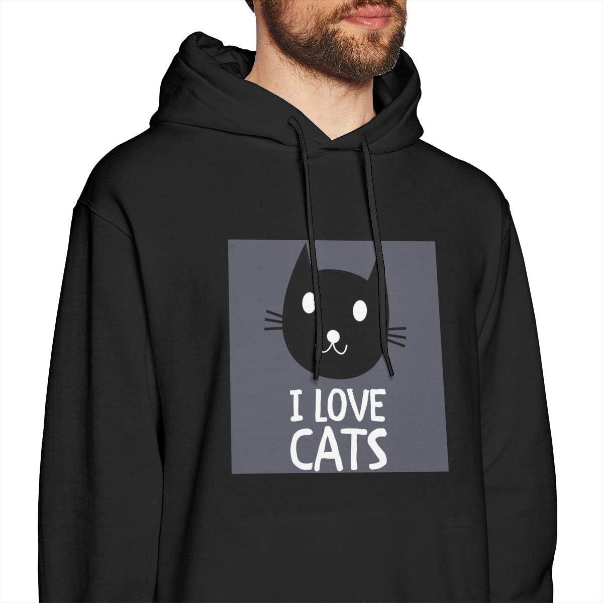 I Love Cats Mens Hooded Sweatshirt Theme Printed Fashion Hoodie