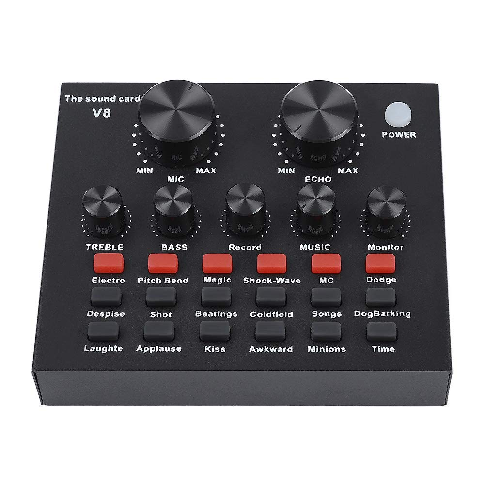 Ciglow External Sound Card, Audio Mixer External USB Headset Microphone Mobile Computer PC Live Sound Card Karaoke with 18 Sound Effects, 7 Connecting Methods, 6 Effect Modes.