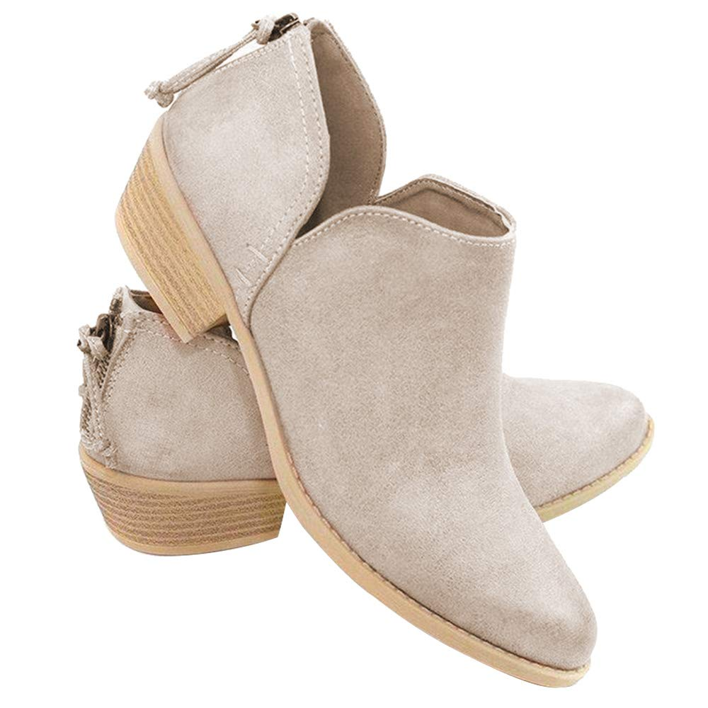 Athlefit Womens Casual Ankle Booties Cut Out Slip On Low Heel Short Boots