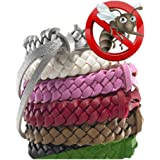 Mosquito Repellent Bracelet, (5 pcs / 5 Colours) Stylish Leather Bands, Long Protection Against Mosquitoes & Insects - [DEET-FREE, NO-SPRAY] - Wrist Bands for Kids, Babies, Adults, Men and Women.
