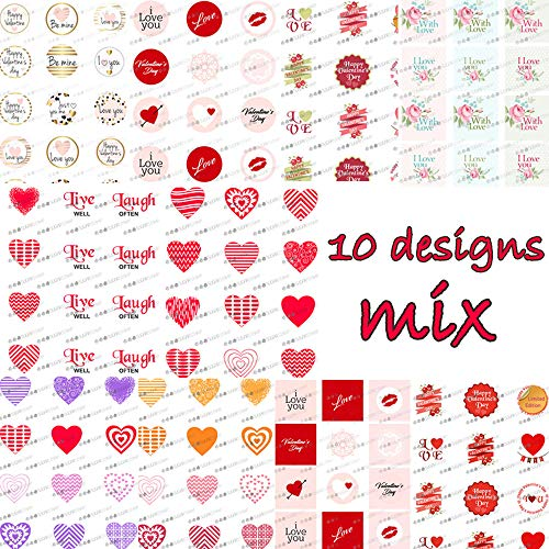 Valentine Wedding Heart Sugar Stamp Sheets for Decorated Meringues Kisses,10 Mix Sheets,Valentine Chocolate Transfer Sheet (Chocolate Transfer Sheets Wedding)