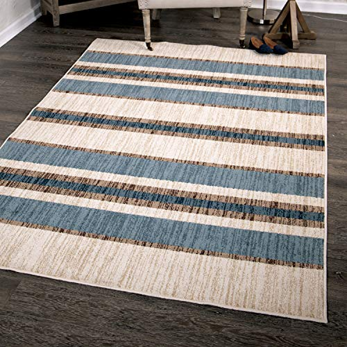 - Orian Rugs Farmhouse Sonoma Collection 409857 Indoor/Outdoor Tourist Stripe Area Rug, 7'9