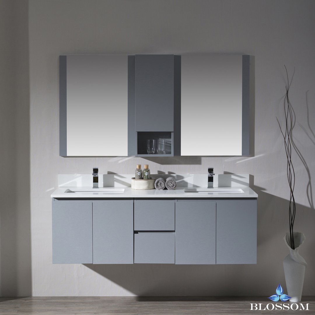 BLOSSOM 000-60-15-D24-WH Monaco 60'' Double Wall Mount Vanity Set with Mirror and Wall Cabinet Metal Gray