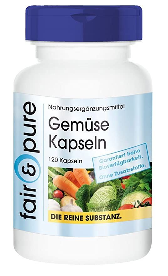 Gemüse - 120 cápsulas vegetarianas de con 10 verduras y spirulina - Sustancia pura y sin