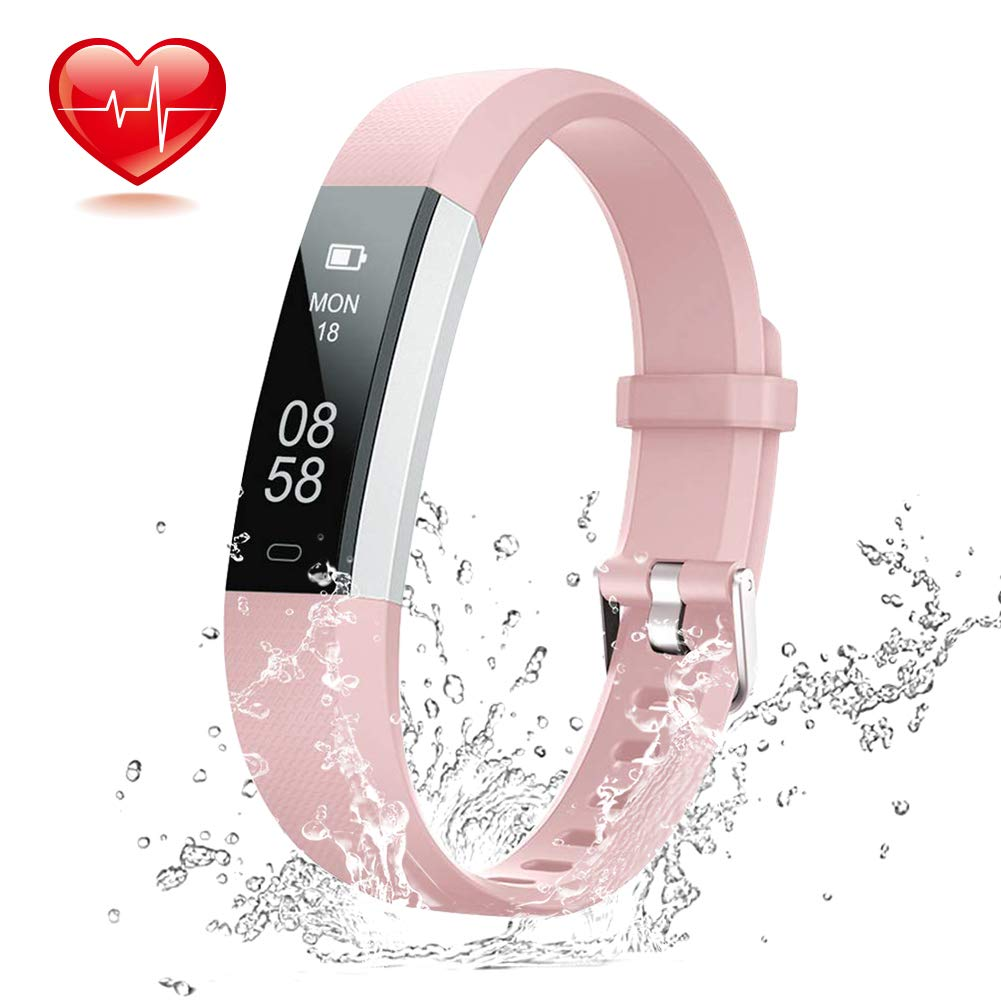 Lintelek Fitness Tracker Pink – Slim Sports Watch with HR Monitor, IP67 Waterproof Activity Fitness Smart Watch for Women Men and Kids