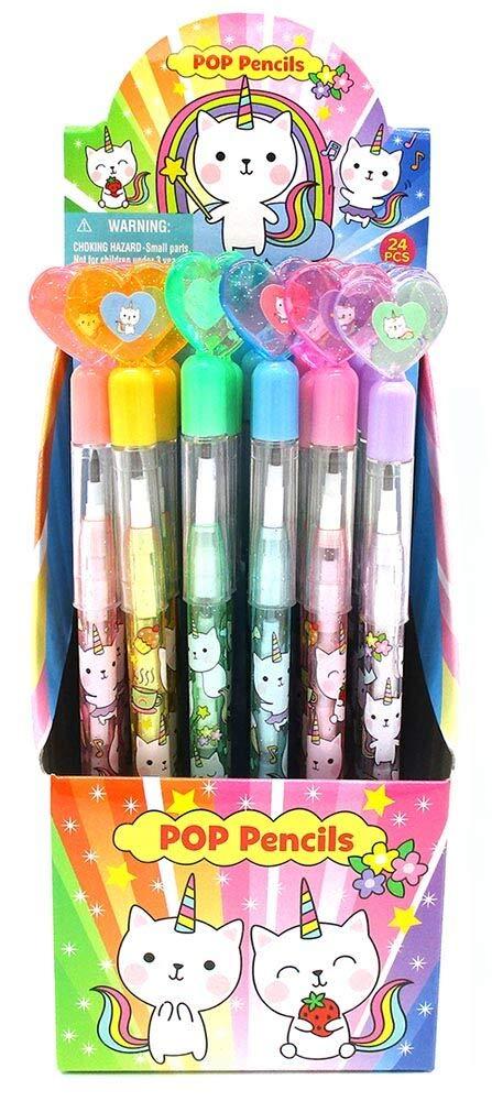 TINYMILLS 24 Pcs Unicorn Kitty Multi Point Pencils by Tiny Mills