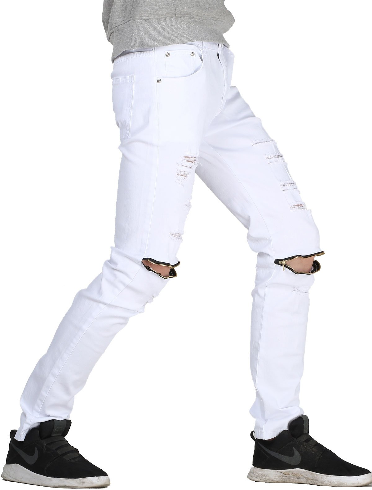 Lavnis Men's Slim Fit Destroyed Jeans with Holes Pencil Pants Slim Zipper Jeans with Holes Style 1 White-32