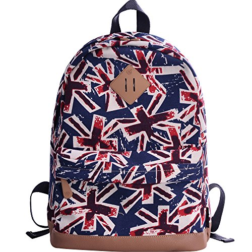 Price comparison product image DGY Fashion School Backpacks Canvas Backpacks Cute Printed Backpack for Teenage Girls G00133 UK Flag Pattern
