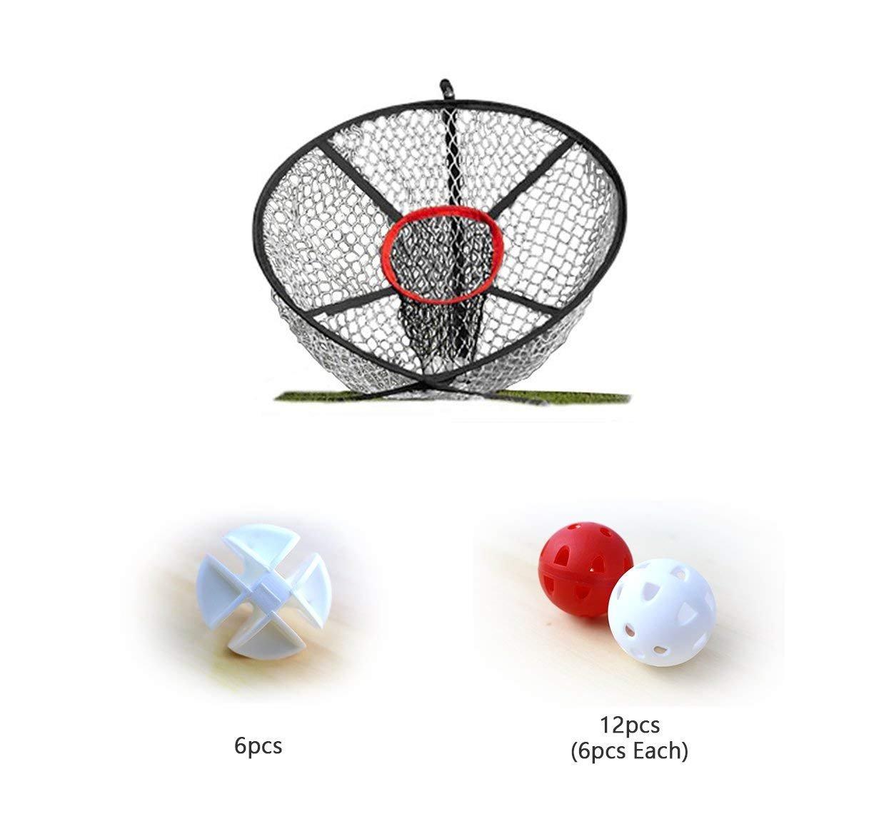 POSMA CN040Aゴルフエリートチッピングネットバンドル2つのスタイルで気流Whiffleボールセット - 個白+ 6個赤と白   B07FR1GJRB