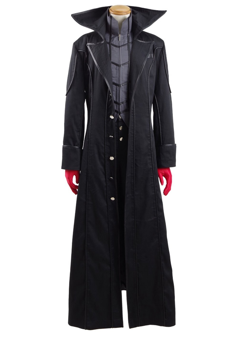 Costume Party Heart Mens Winter Long Trench Coat Knee Length Black Jacket