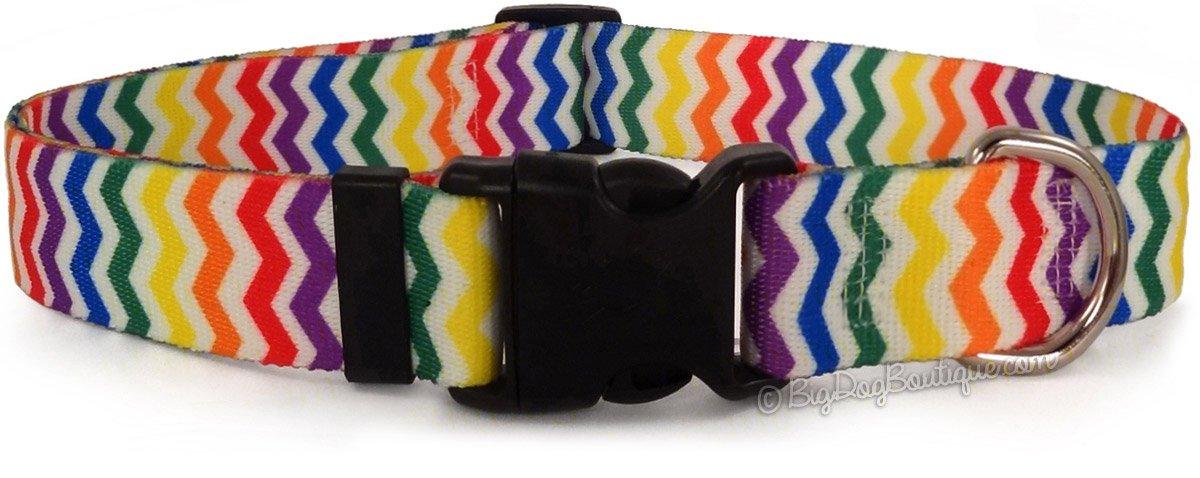 Rainbow Stripe Chevron Adjustable Buckle Dog Collar Large 18in-28in by Yellow Dog Design