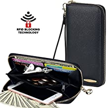 Clutch Wallet, COCASES RFID Protection Women PU Leather Card Holder Zipper Purse
