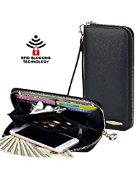 COCASES Clutch Wallet RFID Protection Women Leather Card Holder Zipper Purse Handbag (black)