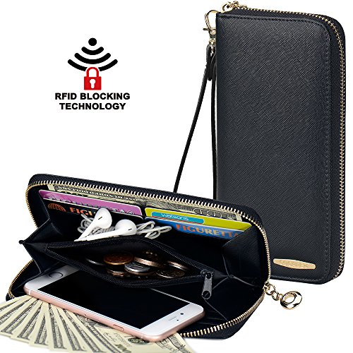 Clutch Wallet, COCASES RFID Protection Women Premium PU Leather Card Holder Coin Pocket Zipper Purse Handbag for 2 Cell Phones with Wrist Strap - Zipper Clutch Wallet