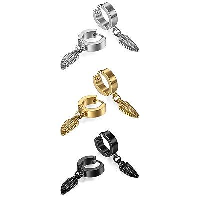 45841cc3659d Hombre Mujer 3 Pares Juego de pendientes acero inoxidable con resorte  colgante de oro negro plata