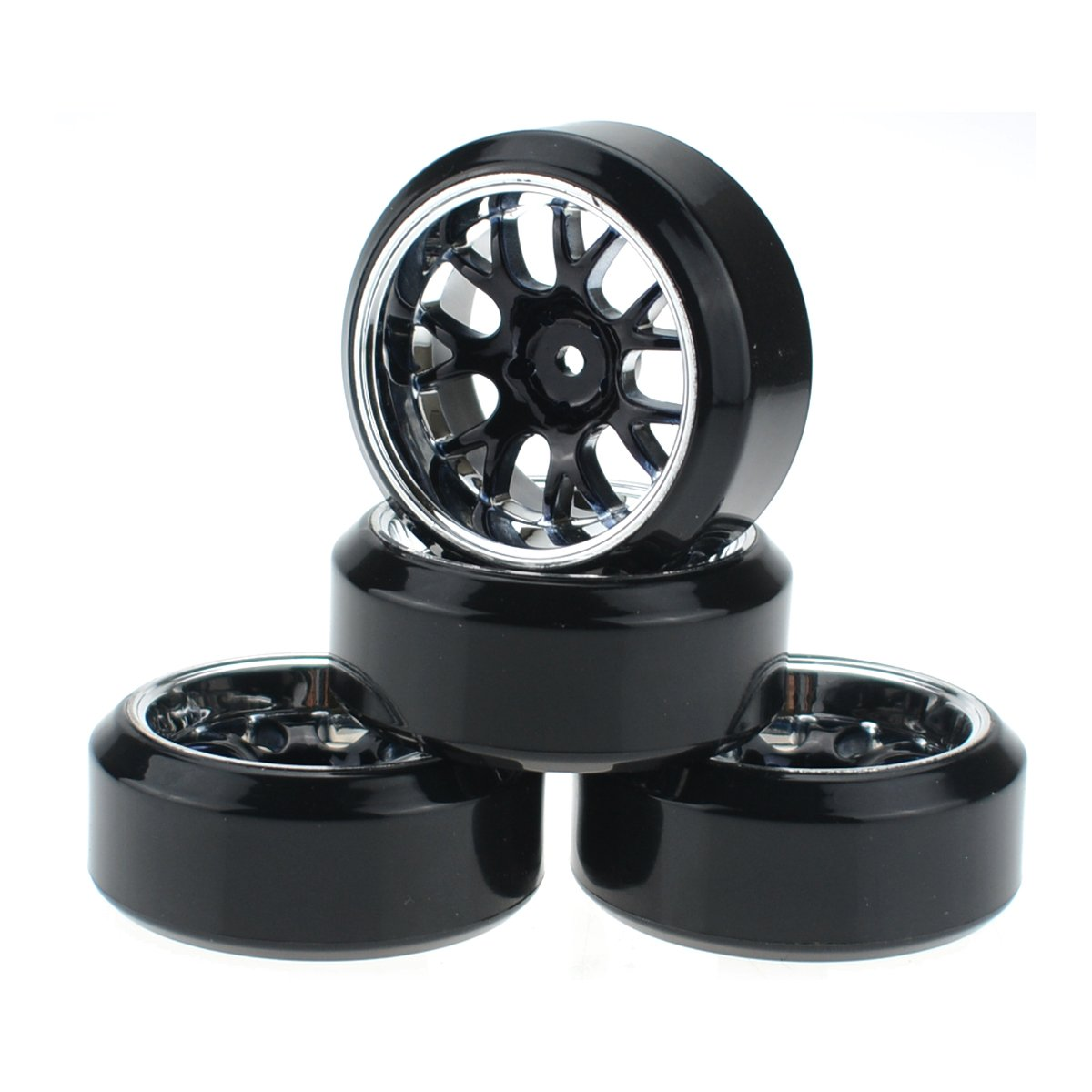 HobbyMarking 4Pcs RC 1//10 On-Road Car 12mm HEX Tires Hard Tyre and Wheel for Traxxas HSP Tamiya HPI Kyosho Drifting Car MEIKE