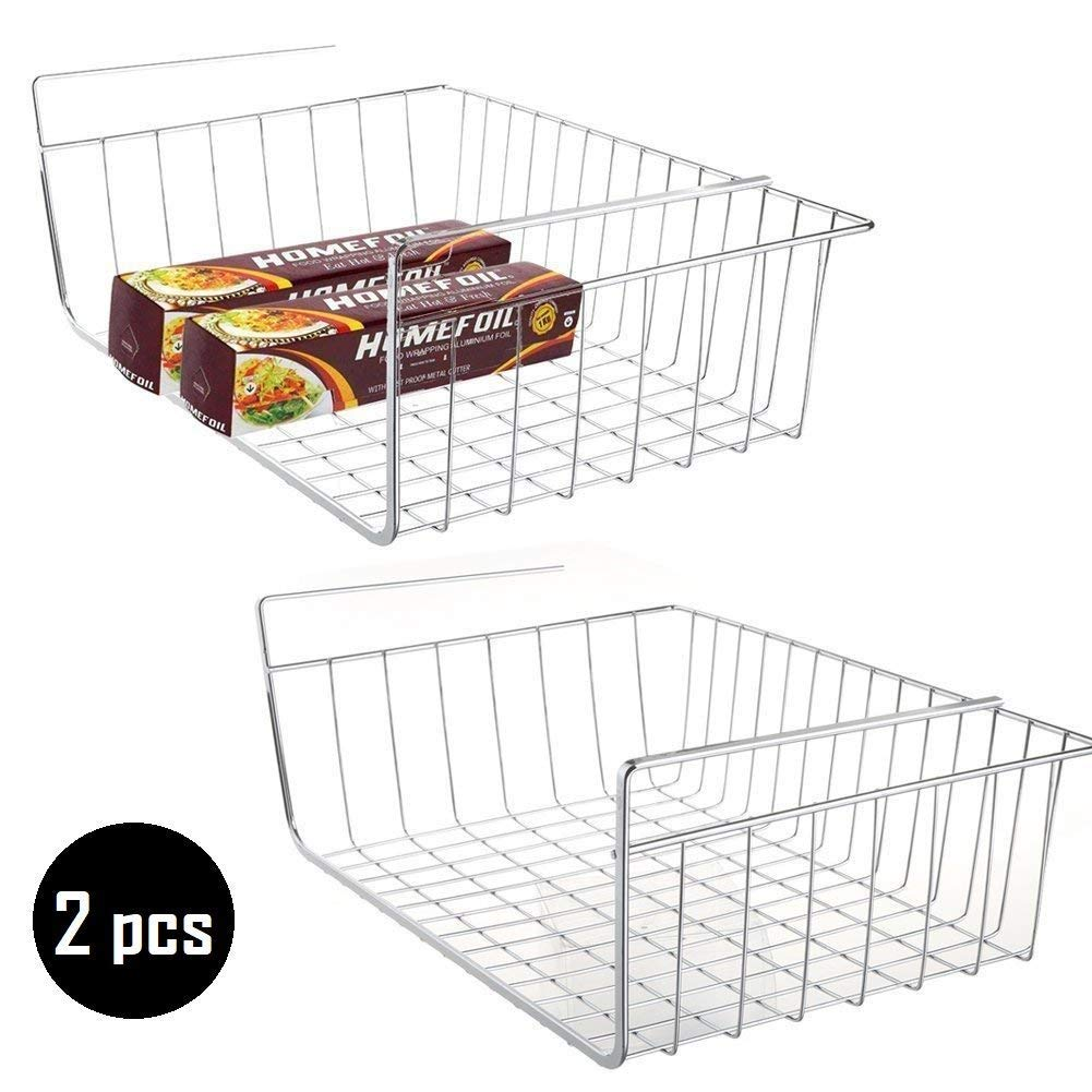 2 pcs Under Cabinet Storage Shelf Wire Basket Organizer Fit Dual Hooks for Extra Storage Space on Kitchen Pantry Desk Bookshelf Cupboard - Premium Anti Rust Stainless Steel Rack - Silver by My Under Shelf Basket