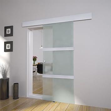 Puerta corrediza de cristal 2050 x 750 mm Cristal – Herraje para de calidad de aluminio y acero inoxidable: Amazon.es: Bricolaje y herramientas