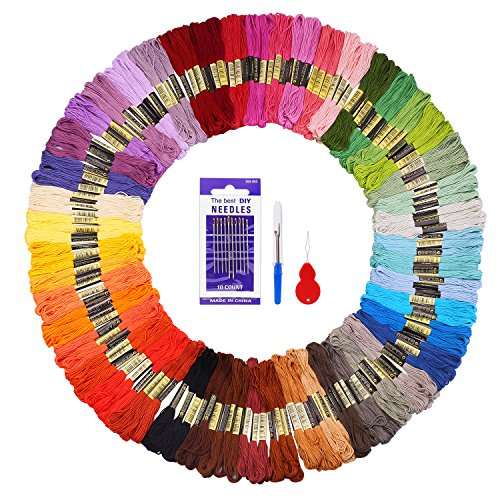 Embroidery Floss 144 Skeins Fuyit Cross Stitch Threads for Friendship Bracelets Floss Crafts Floss with Needle Threader Untwist Tool (48 Color)