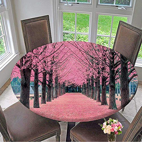 Mikihome Round Premium Table Cloth Pink Tree,Nami Island in Korea Perfect for Indoor, Outdoor 35.5