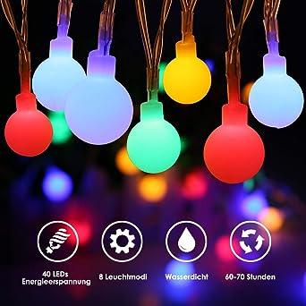 Led Lichterkette Weihnachten.Led Lichterkette Batterie Ecowho 4 5m 40 Leds Wasserdicht Kugel Lichterkette Weihnachten Dekorative Lichterketten Für Zimmer Party Garten