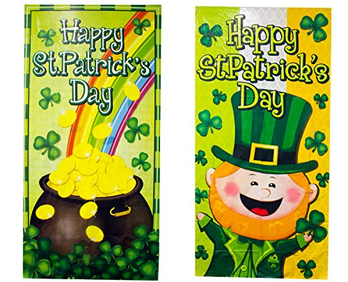 St Patrick's Day Front Door Decoration - Assorted Designs Irish Leprechaun and Shamrock Bucket - 2 Pack