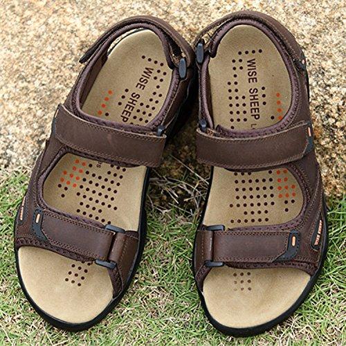 da Scarpe cikuso Sandali 39 Sandali Vera estive Scuro Marrone Casual Maschili Spiaggia in Pelle Uomo Scarpe Crocs Sandali Moda Scarpe dCFdRnr