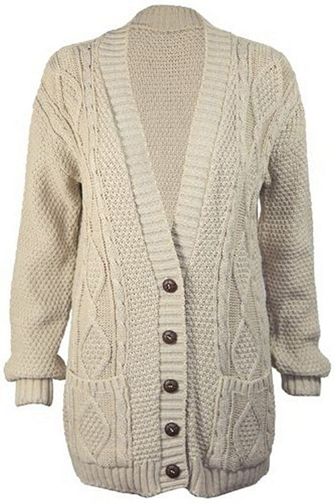 Women's Long Sleeve Button Top Ladies Chunky Aran Cable Knit ...