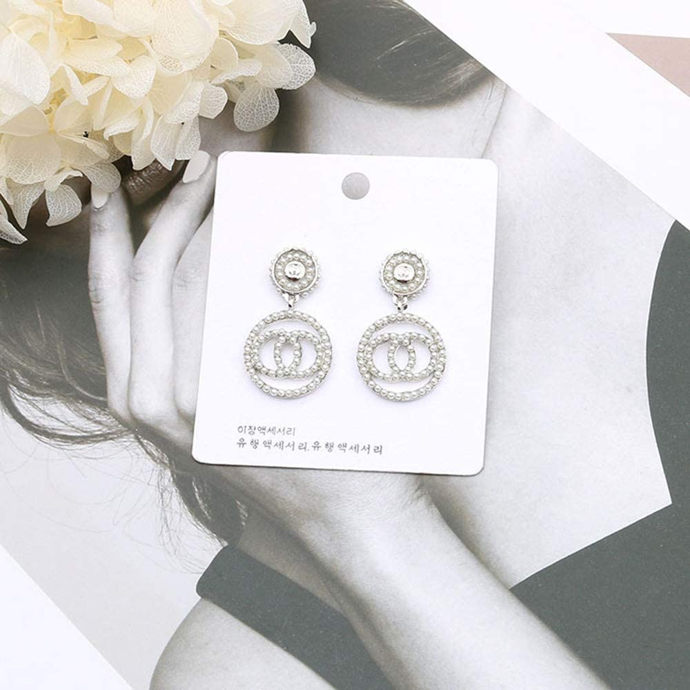 LUDREAM Luxury Letter G Stud Earrings Initial C//H//F Earrings Pearl Crystal Dangle Drop Earrings Gift for Women Girls
