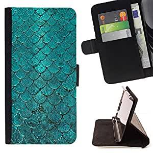 For Samsung Galaxy S6 EDGE Teal Iridescent Scale Pattern Fish Tropical Style PU Leather Case Wallet Flip Stand Flap Closure Cover