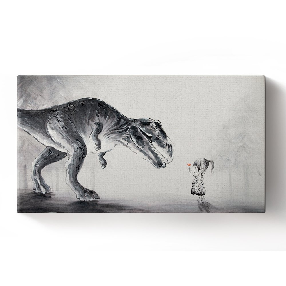 Libaoge Hand Painted Lovely Baby Girl Sending A Flower to Trex Dinosaur in The Forest Oil Painting on Canvas with Wood Frame, Modern Home Wall Decoration Artwork Ready to Hang
