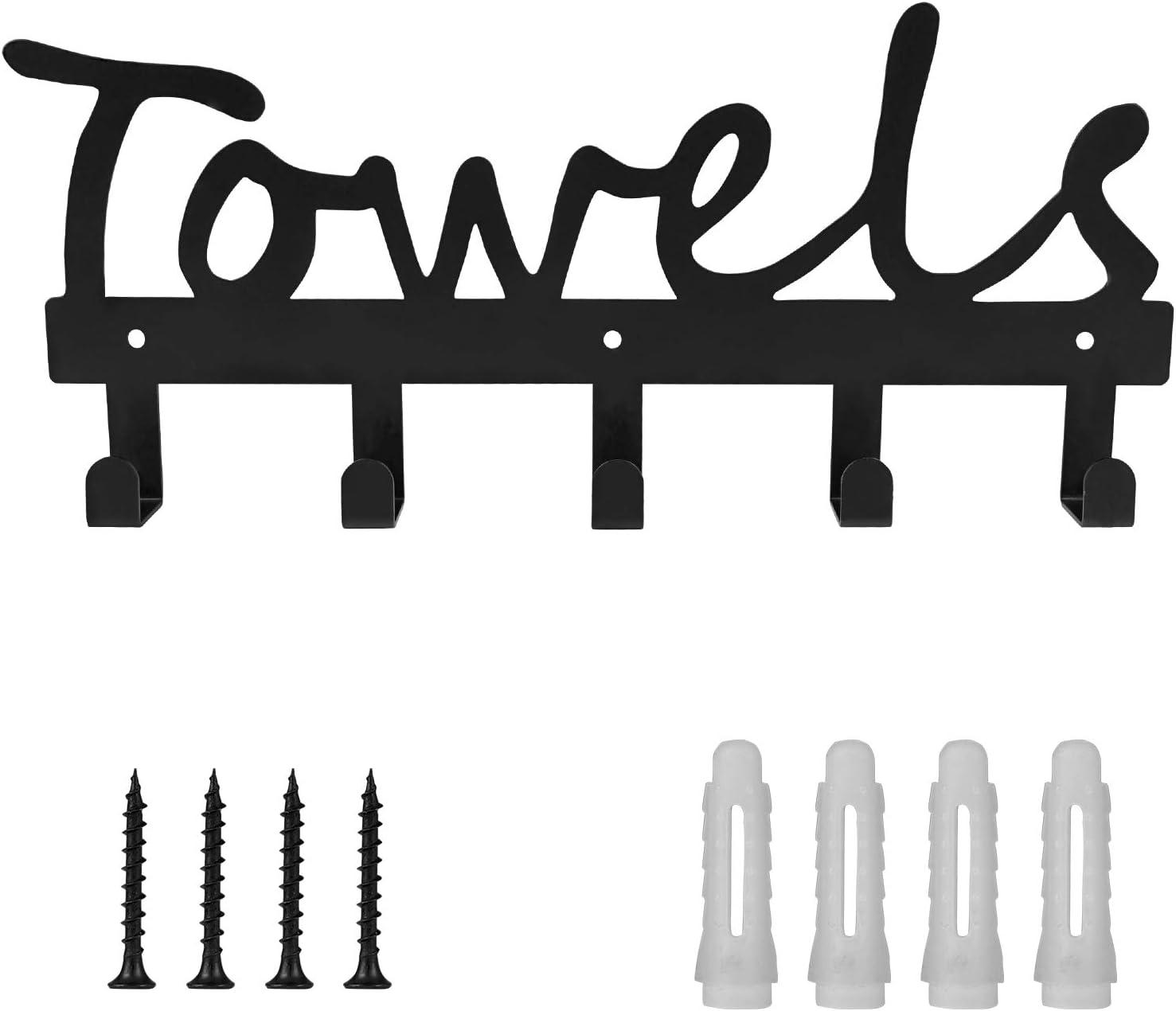 Towel Holder 5 Hooks for Bathroom, Towel Racks, Towel Hooks for Bathroom, Bedroom, Kitchen, Pool, Beach Towels, Bathrobe, Clothing, Metal Sandblasted Wall Mount Rustproof and Waterproof (Black02): Kitchen & Dining
