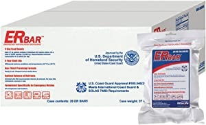 ER Emergency Ration 2400 Calorie Food Bars for Survival Kits and Disaster Preparedness, Case of 20, 1AC