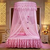 WLHOPE Mosquito Net Canopy Ceiling Stylish Lace Princess Butterfly Dome Mosquito Net Diameter 1.2M Bed Cotton Cloth Tent Baby Kids Indoor Reading Play Games House Anti-Mosquito Insect Netting (Pink)